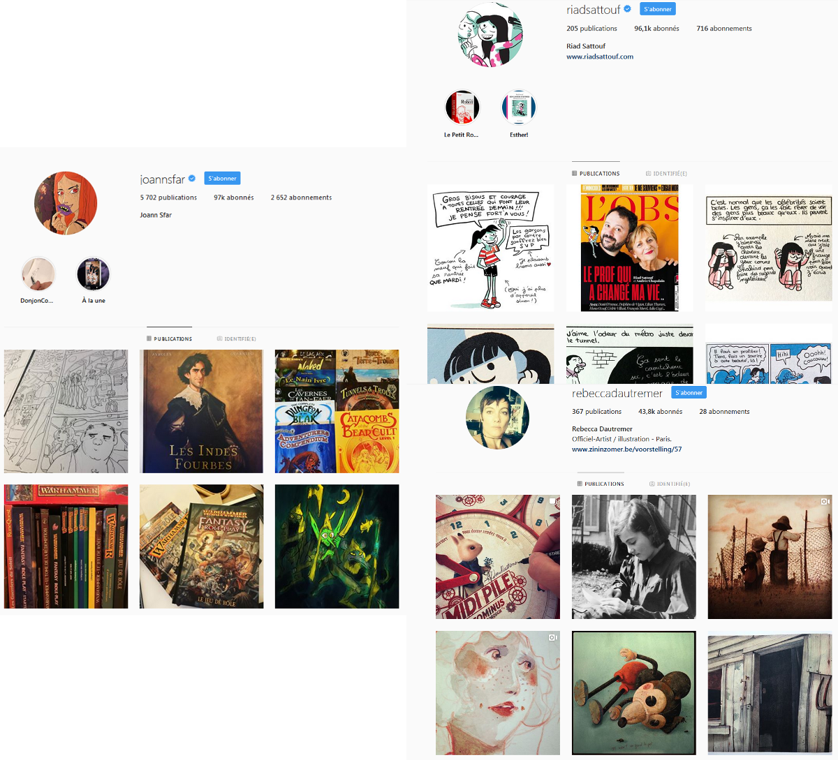 Profil instagram d'illustrateurs et d'illustratrices
